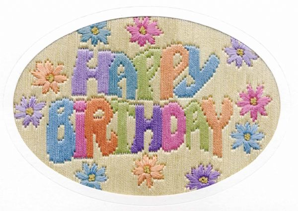 Happy Birthday Greetings Long Stitch Card Kit